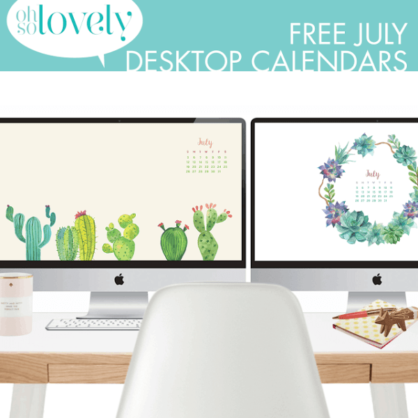 FREEBIES  //  JULY DESKTOP CALENDARS