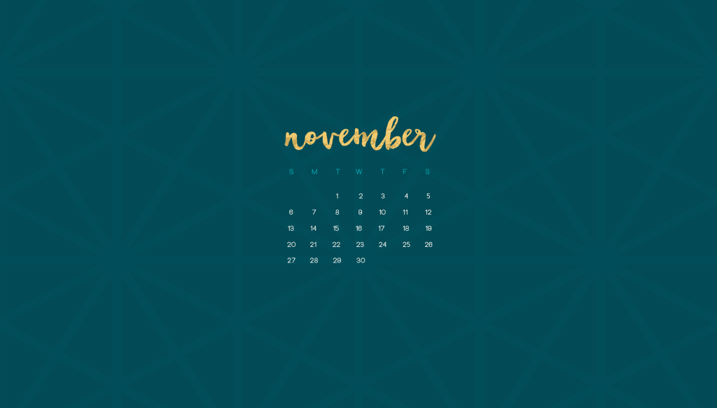 Oh So Lovely Blog shares a FREE November desktop and mobile calendar wallpaper with both Sunday and Monday start options. Download yours today!