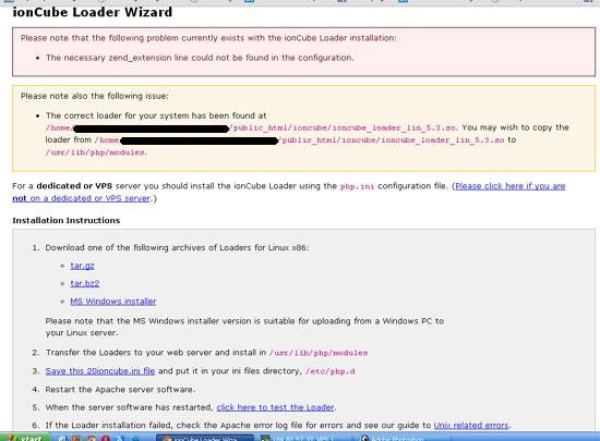 error yang ditampilkan jika installasi ioncube loader mengalami masalah