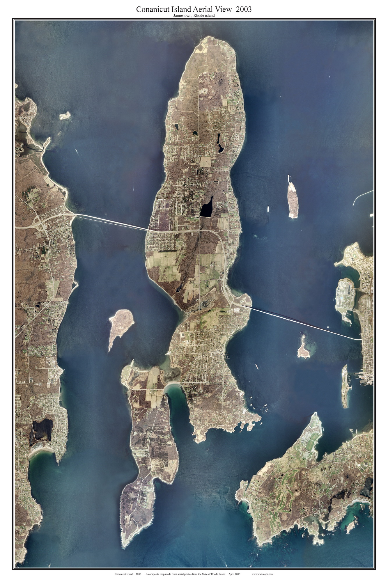 Old Maps of Rhode Island   National Archives Conanicut Island Aerial View 2003  Jamestown 11  x 17     12 16  x 24      20 24  x 36     30