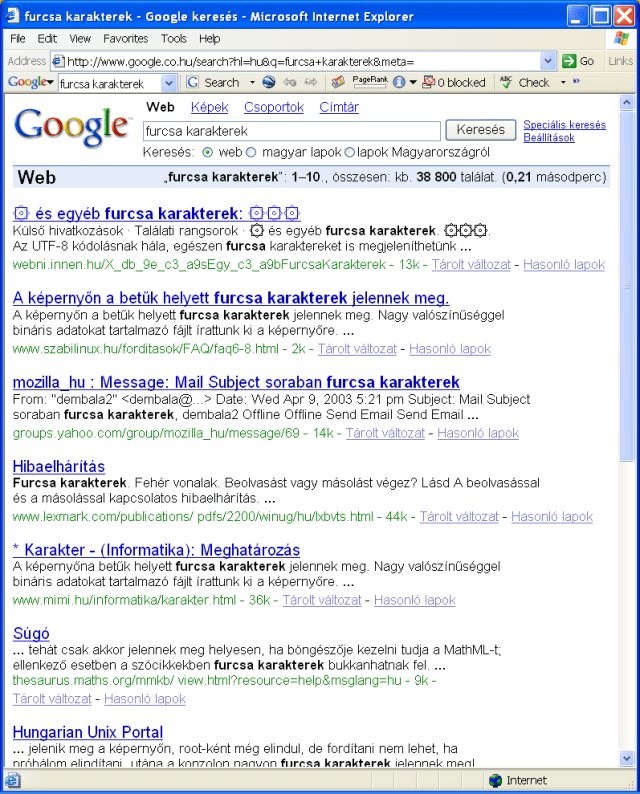Google találati listája - példa