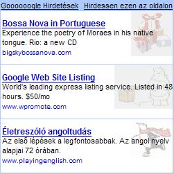 Google AdSense hirdetések karácsonyi motívumokkal