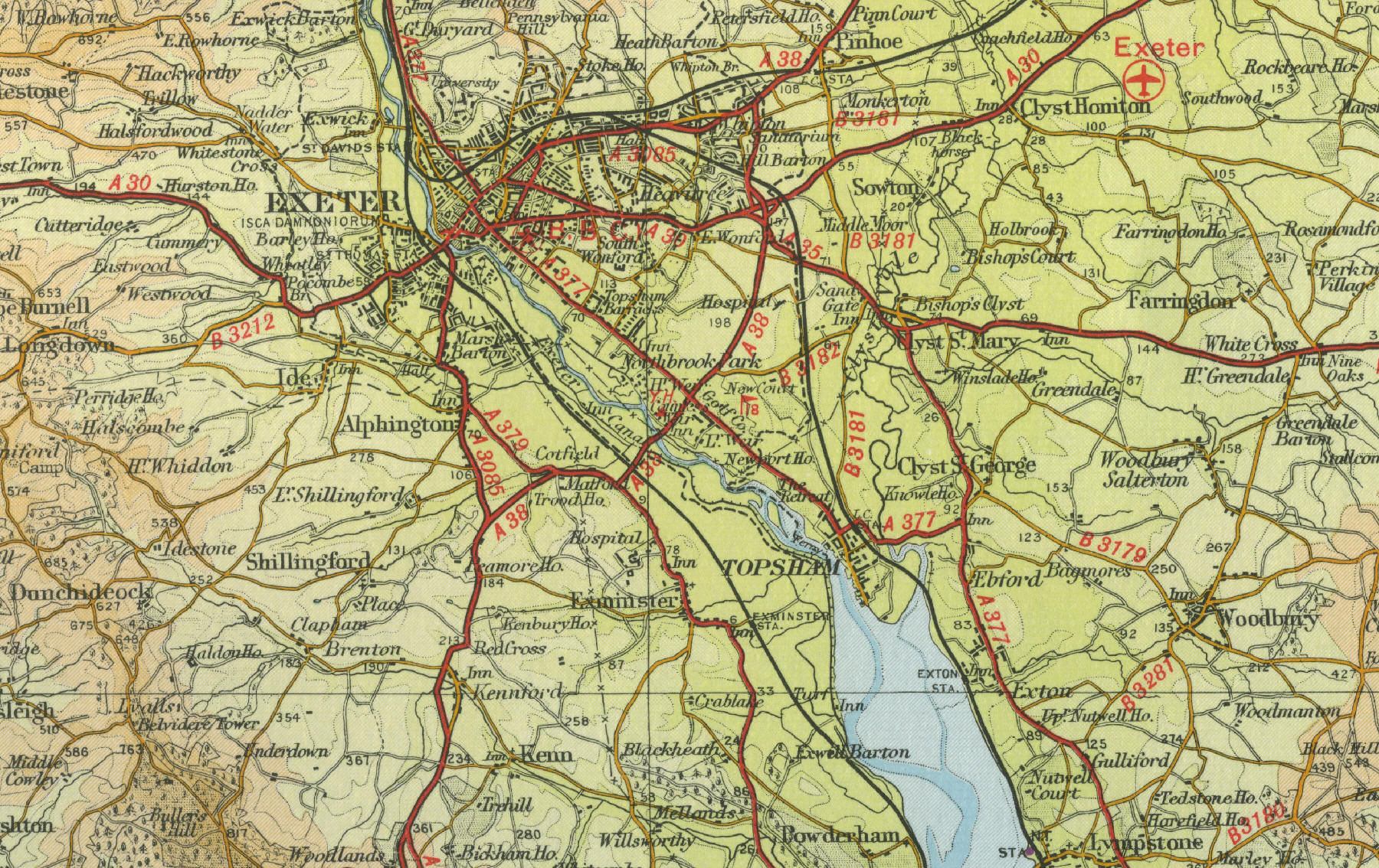 map to exeter