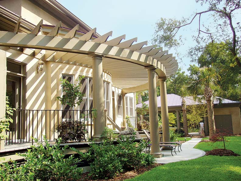 Gray Columns Pergola Designs A Attached To House Is Carried By One Row Gardens Restoration Design Pergola Attached To House Uk Pergola Attached To House Wall houzz-03 Pergola Attached To House