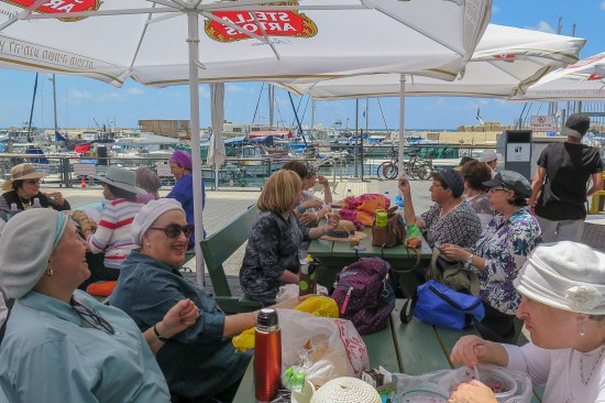 senior olim enjoy an outing at the Tel Aviv marina