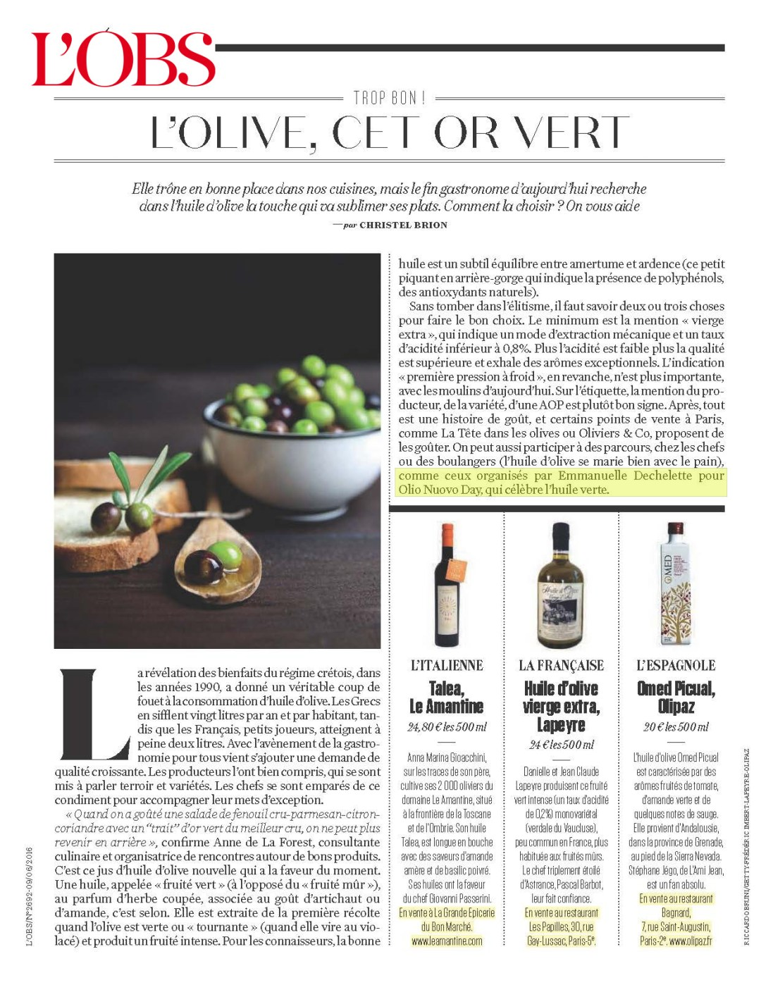 Les huiles d'olive Olio Nuovo Days dans L'OBS
