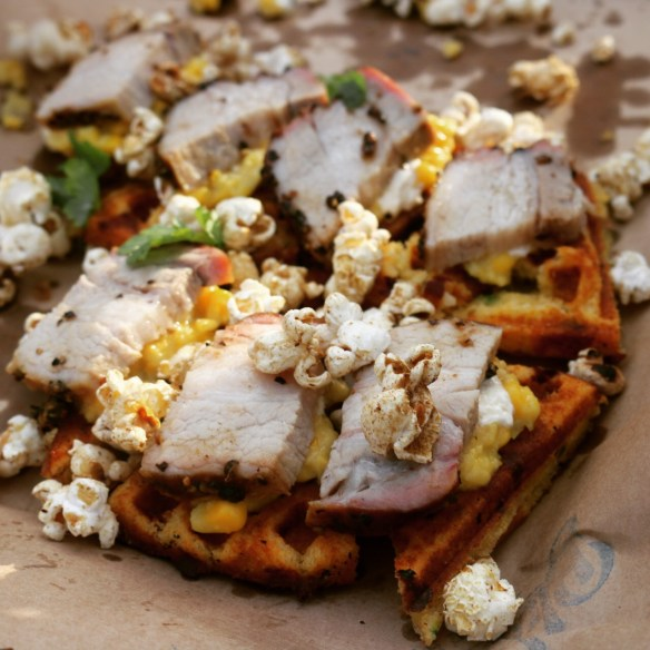 Royal Croquet Club Melbourne 2015 - Bluebonnet BBQ cornbread waffled w smoked pork belly
