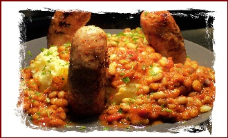 sausage mash n baked bean volcano