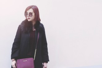 Rouge - Black fur neck coat burgundy sweater Michael Kors
