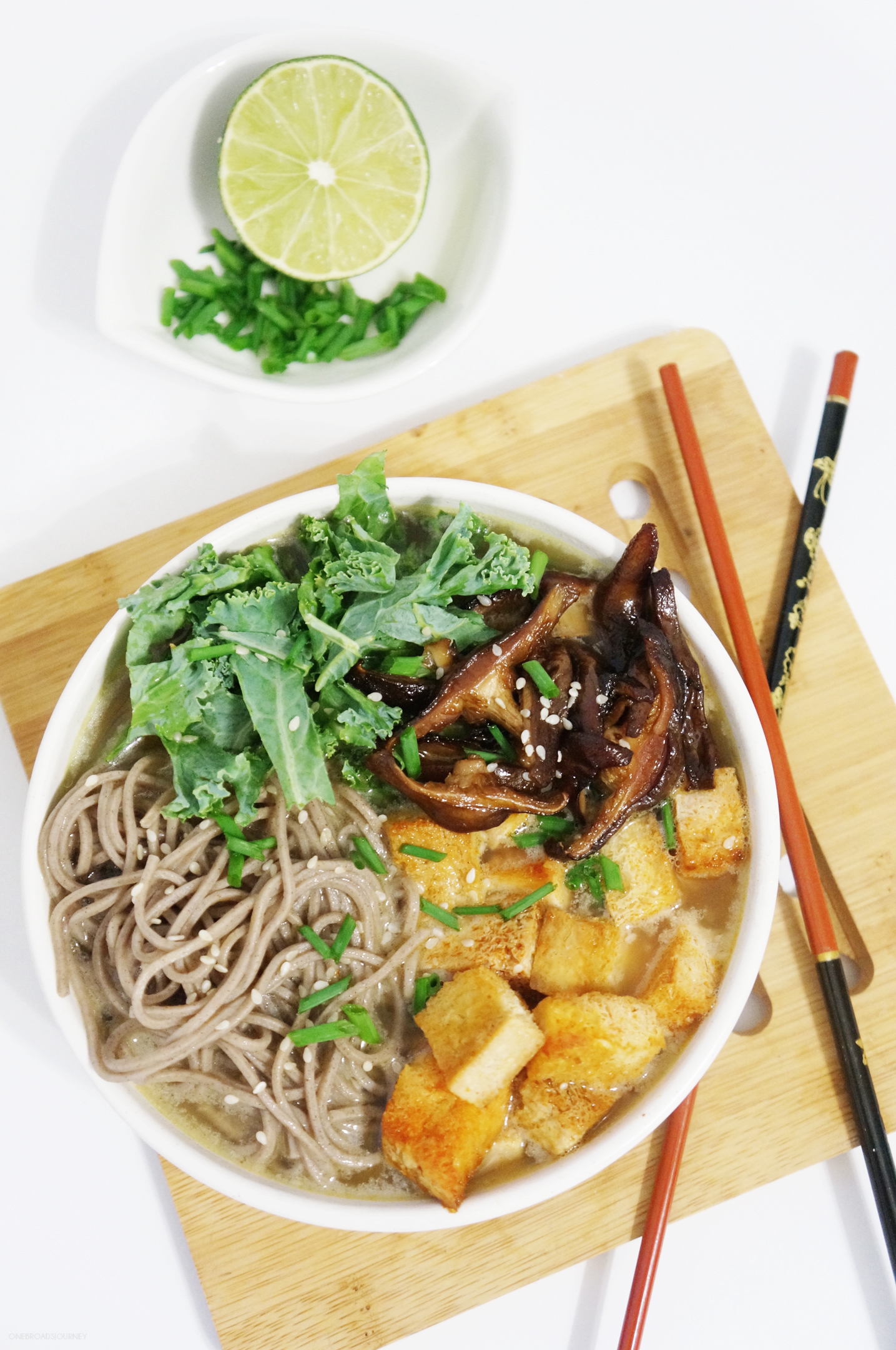 Soba Noodles with Spicy Tofu and Shiitake Mushrooms in Tahini Broth {V ...