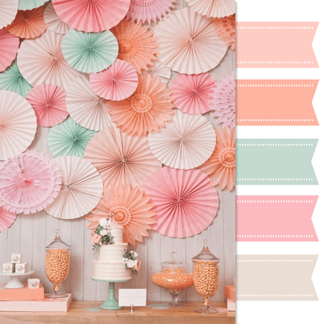 Mint Pink Peach Color Palette