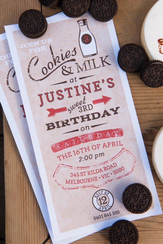 milk and cookies invitation boys party