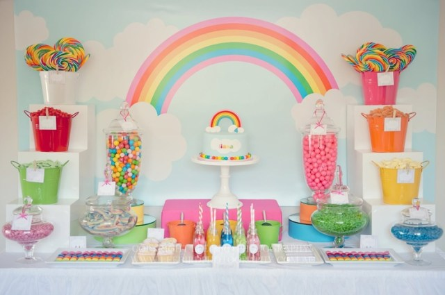 pastel rainbow dessert table
