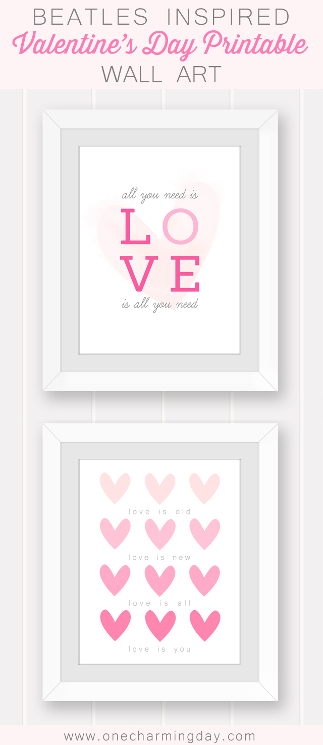 Beatles Inspired Valentine 39 S Day Printable Wall Art One