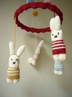Knitted Bunny Mobile…Seriously