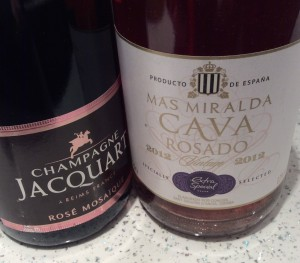 Champagne Jacquart Rosé Mosaïc NV, left, and Cava Rosado from Asda