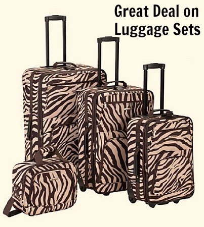 zebra luggage set