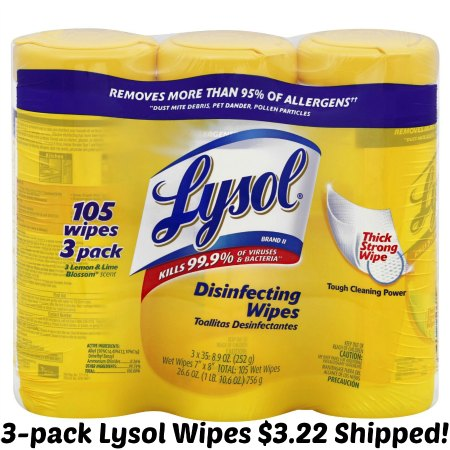 Lysol Disinfecting Wipes, Lemon and Lime Blossom Triple Pack, 3 - 35 Wet Wipe Cannisters