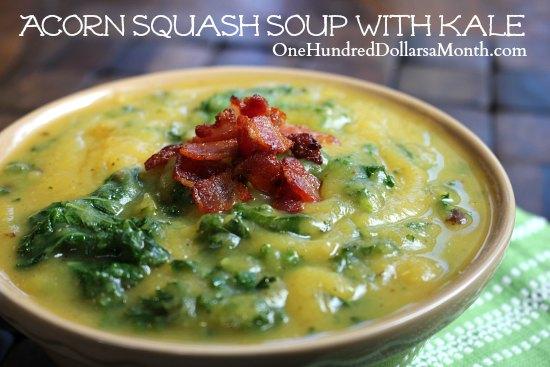 Acorn Squash Soup with Kale