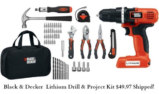 Black & Decker LDX172PK Lithium Drill and Project Kit, 7.2-volt
