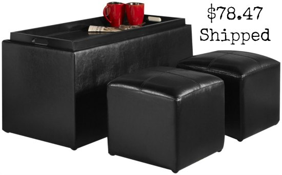 Convenience Concepts Sheridan Faux Leather Storage Bench with 2 Side Ottomans