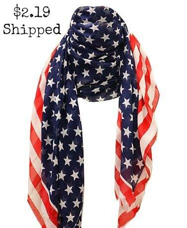 US American Star Flag Chiffon Scarf