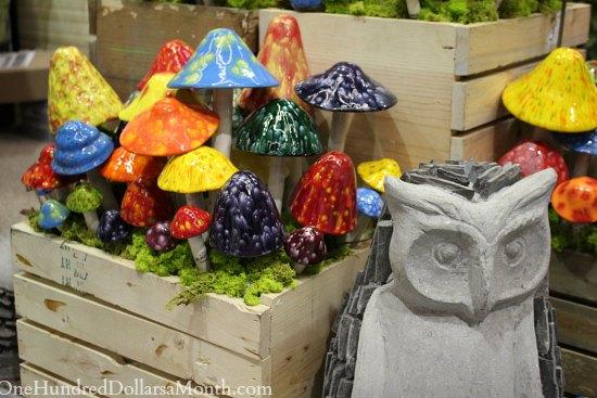 ceramic mushrooms owl