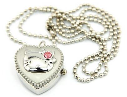silver kitty heart locket