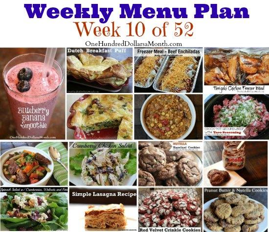 Weekly Meal Plan - Menu Plan Ideas week 10