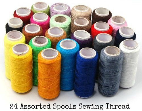 24 Assorted Spools Polyester Sewing Thread Full Size