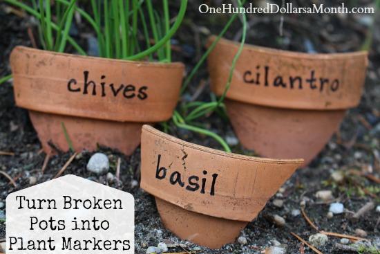 turn broken pots into plant markers