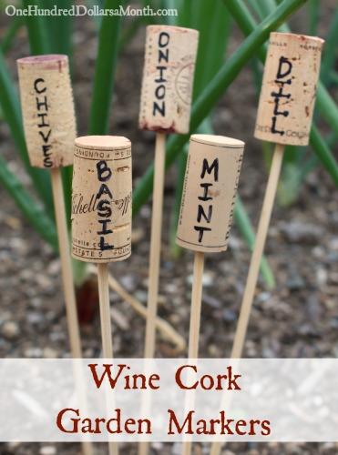 wine cork garden markers