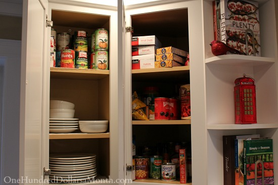 white cupboards with food