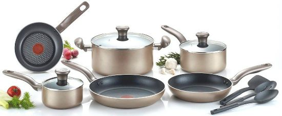 T-fal Metallics Nonstick Thermo-Spot Heat Indicator Cookware Set