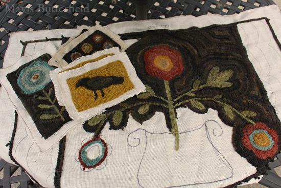 primitive folk art hooked rug