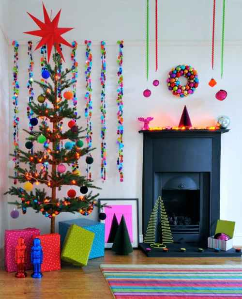 multicolored Christmas living room