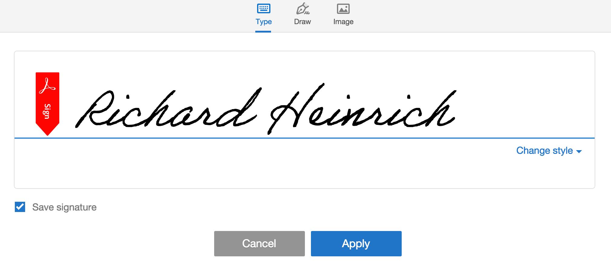 Adobe signature feature