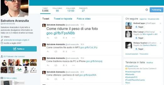 Salvatore Aranzulla - profilo di Twitter