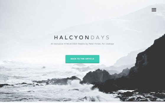 Halcyon Days one page Template