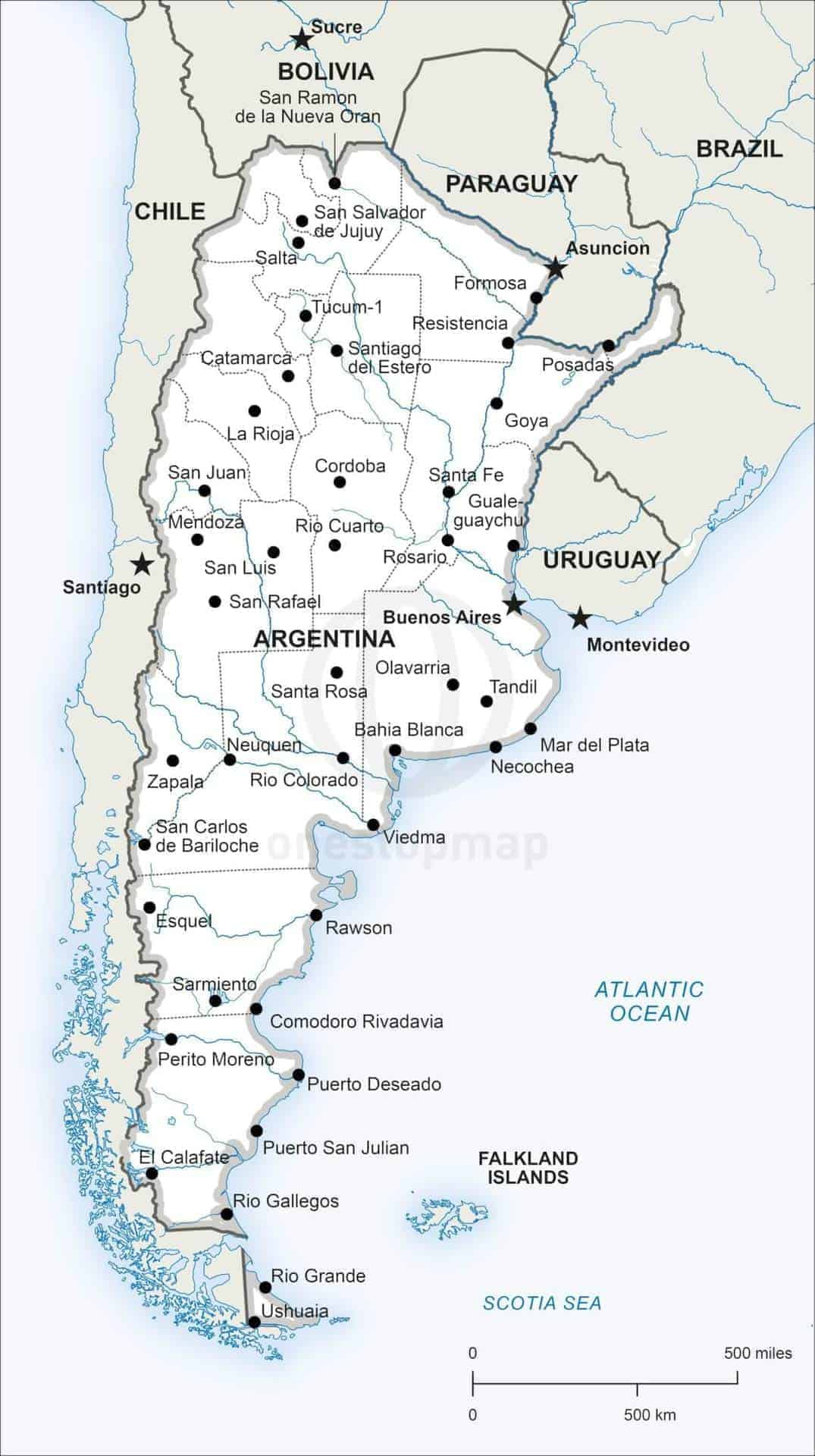 map showing argentina