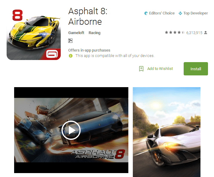 Asphalt 8 Airborne Android Apps