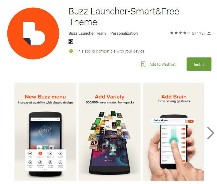 Buzz best free Launcher for android