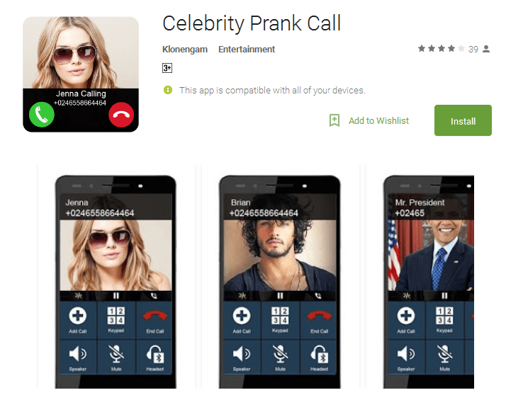 Celebrity Prank Call Android App
