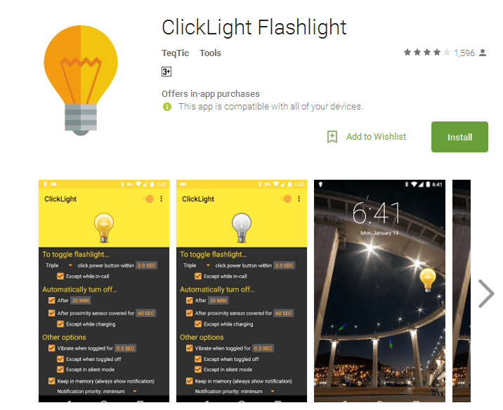 ClickLight Flashlight Android Apps