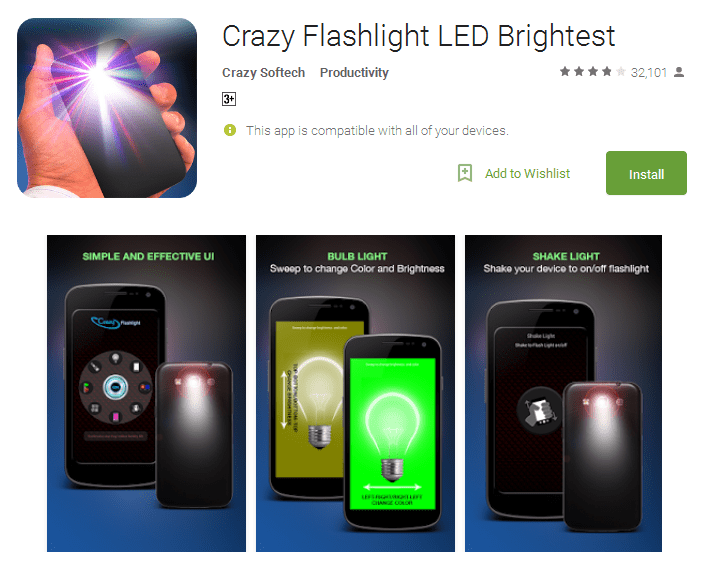 Crazy Flashlight LED Brightest free torch app