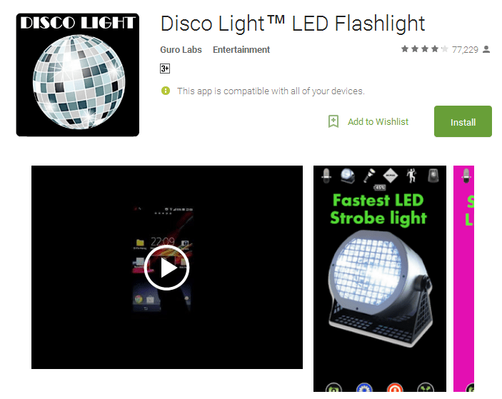 Disco Light LED Flashlight