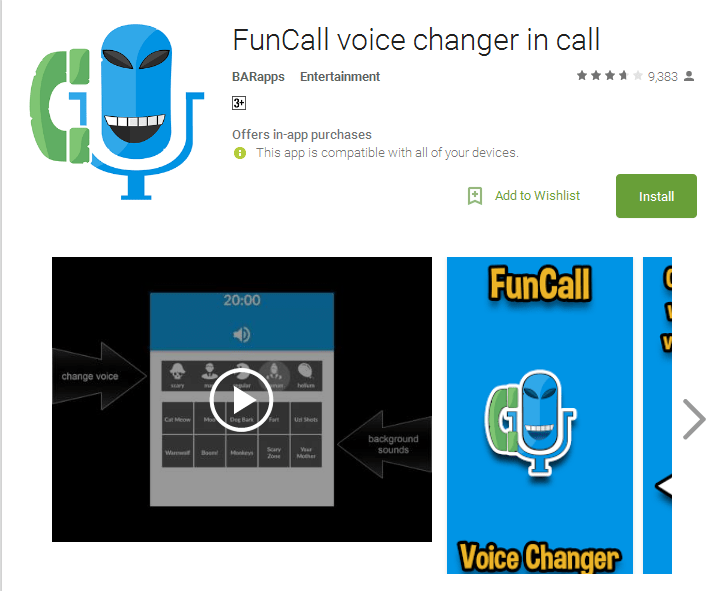 FunCall voice changer in call prank call app