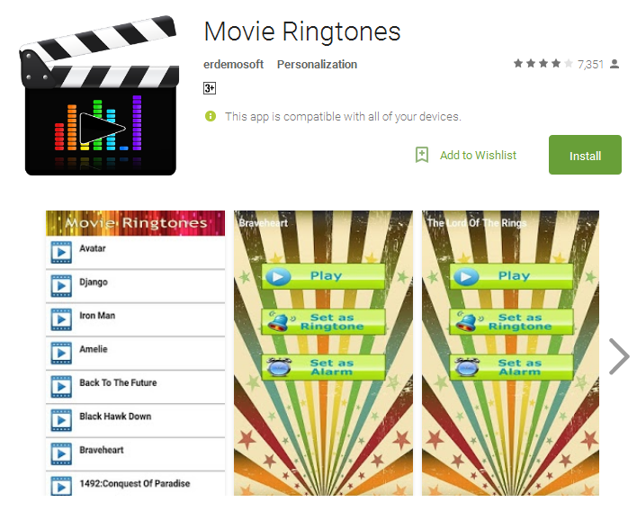 Movie Ringtones free Android Apps