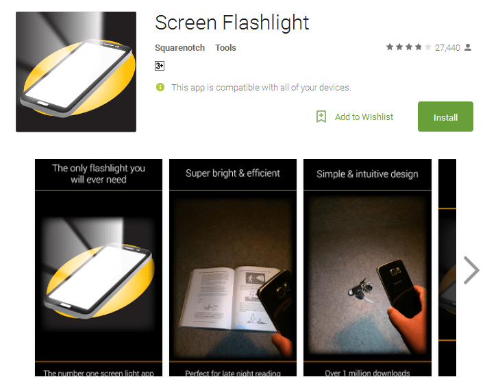 Screen Flashlight free flashlight app for Android