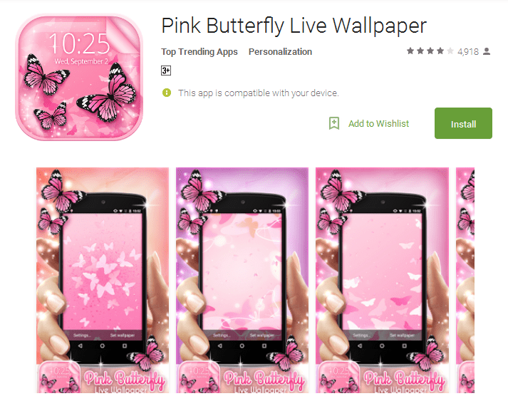 Pink Butterfly Live Wallpaper Android Apps